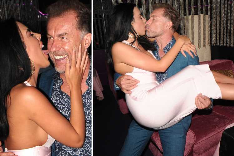 Coronation Street legend Chris Quinten's stripper fiance, 21, licks his face at their engagement party