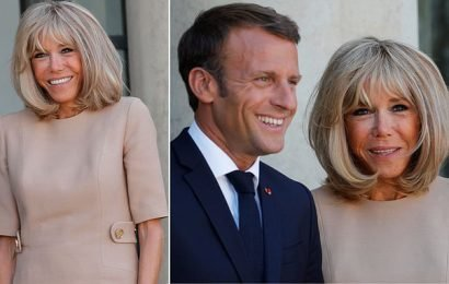 Brigitte Macron all smiles as she joins husband for meeting in Paris