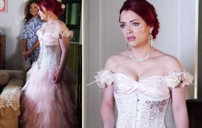 EastEnders first look at Whitney Dean's outrageous pink wedding dress as she prepares to marry her gay fiance Callum Highway