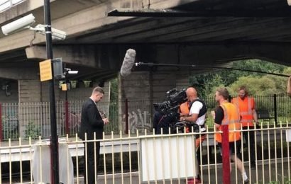 EastEnders' Bobby Beale returns to the scene where Lucy's body was found as fans spot him filming with Tony Clay's Callum at Walford Common station