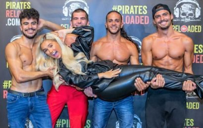 Love Island's Molly-Mae wears all-leather outfit to cosy up to topless male dancers in Majorca