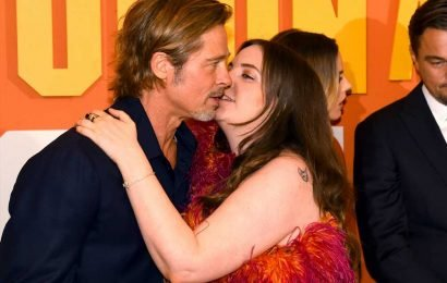 Lena Dunham Plants a Kiss on Brad Pitt at the Once Upon a Time… in Hollywood London Premiere