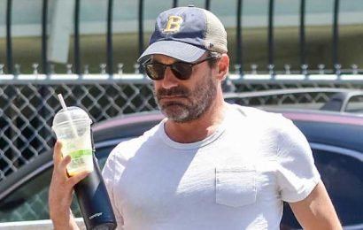 Jon Hamm Stays Hydrated During His Afternoon Outing