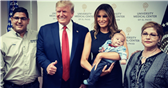 President Trump Posed Smiling Bigly And Gave a Thumbs Up With An Orphaned Baby Who Survived The El Paso Shooting