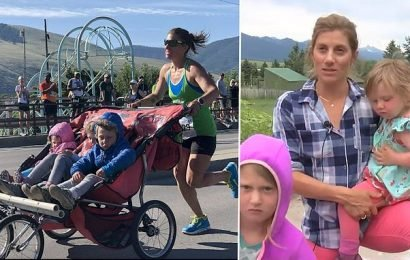 Woman runs marathon in three hours pushing her kids in a STROLLER