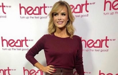 Amanda Holden celebrates 'hump day' in slinky red leather ensemble