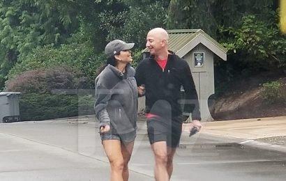 Jeff Bezos and Lauren Sanchez Take a Stroll Outside Home in Washington