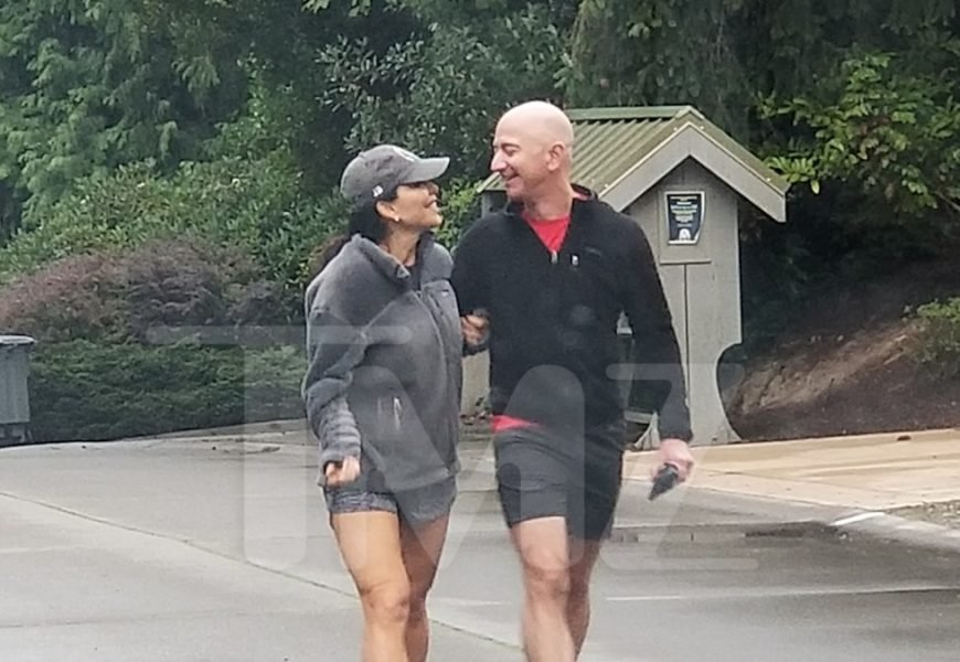 Jeff Bezos and Lauren Sanchez Take a Stroll Outside Home in Washington