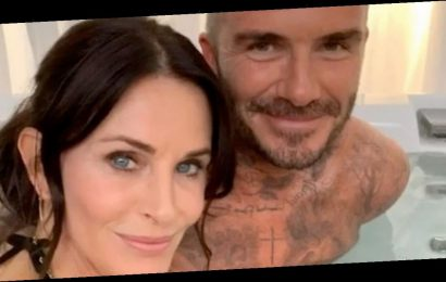 David Beckham gets in a hot tub with Courteney Cox as he teases new project