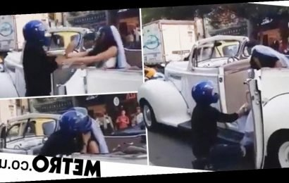 Biker stops wedding car and begs his ex not to get married