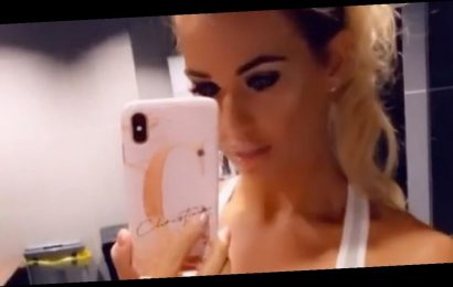 Paddy McGuinness' wife Christine shows off cleavage in skintight gym gear