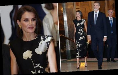 Queen Letizia of Spain dazzles in black dress as she arrives in Madrid