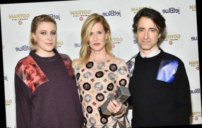 Greta Gerwig and Noah Baumbach sport Laura Dern-themed sweaters at Gotham Awards