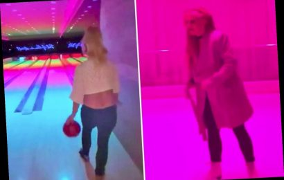 Britney Spears wears a tiny crop top for 38th birthday bowling and ice skating session – The Sun