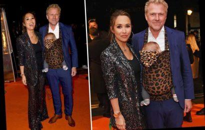 Myleene Klass' boyfriend carries five-month-old son in leopard-print baby sling – The Sun