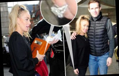 Newly-engaged Brianne Delcourt flashes her £53,000 ring from Kevin Kilbane after celebrating at a hotel – The Sun