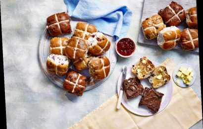 Lidl's hot cross bun range include apple and cinnamon flavour and triple chocolate ones