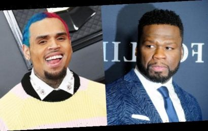 50 Cent Mocks Chris Brown's Rainbow Hair After Asking Him To Collab On New Song