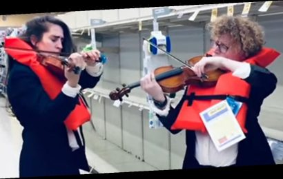 Watch Violinists Play Sinking Titanic Hymn in Empty Toilet Paper Aisle