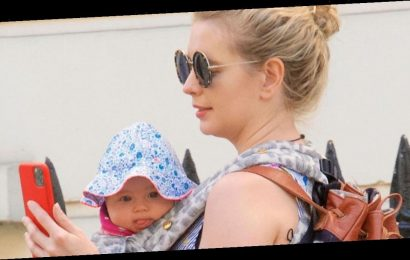 Rachel Riley stuns in floral dress during sunny walk with adorable baby daughter Maven