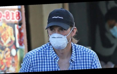 Ashton Kutcher Grabs Take Out in His Face Mask