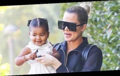 Khloe Kardashian & Adorable True Thompson, 2, Twin In Matching White Outfits in Pampers Pic