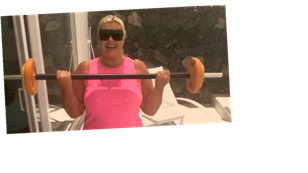 Gemma Collins continues weight loss journey on Marbella holiday by lifting weights in pink gym gear