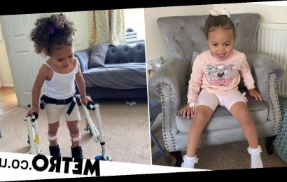 Three-year-old girl unable to walk takes first steps in lockdown