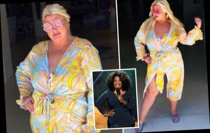 Gemma Collins flashes her legs as she strikes a pose and quotes Oprah on Mykonos holiday