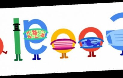 Today's Google Doodle encourages people to 'Wear A Mask. Save Lives.'