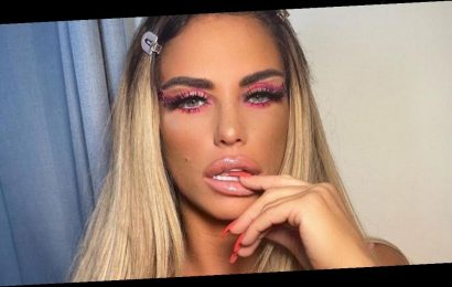 Katie Price returns to Jordan roots by flashing cleavage in racy pink corset