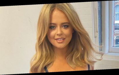 Emily Atack flashes killer cleavage in racy dress as she films for new TV show