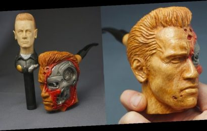 Wood Carver Grabs Arnold Schwarzenegger's Attention With 'Terminator' Tobacco Pipe