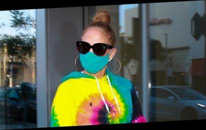 Jennifer Lopez Rocks Tie-Dye While Shopping in Beverly Hills
