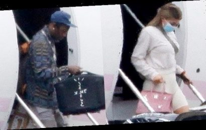 Kylie Jenner & Travis Scott Spotted Returning From Weekend Getaway With Stormi, 2,