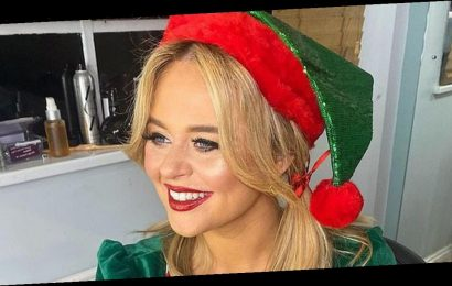 Emily Atack delights fans as cleavage spills from skimpy elf outfit