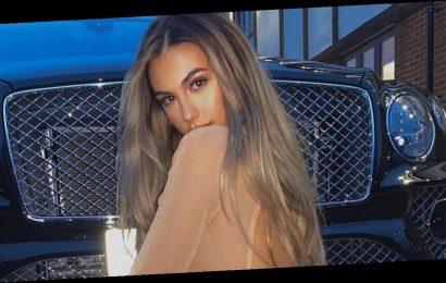 Karren Brady's daughter Sophia Peschisolido flaunts figure in racy sheer dress
