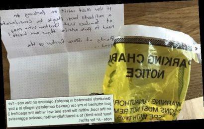 Mum reveals stranger left 'passive aggressive note' on her windscreen