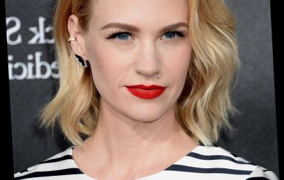 January Jones Responds To 'Desperate' Report With Bikini Pic, Middle Finger
