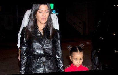 Kourtney Kardashian & Niece North West, 7, Rock Neon Swimsuits While Hot TubbingInLake Tahoe