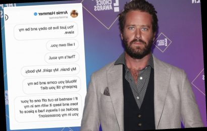 Armie Hammer 'wanted to cut off girlfriend's toe to keep in his pocket' and 'called her a slave' as 'cannibal' DMs leak