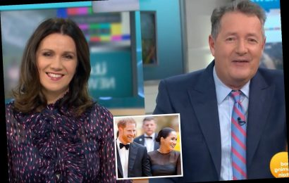 Piers Morgan and Susanna Reid laugh as they take a dig at Harry and Meghan's plans to launch their own comedy shows
