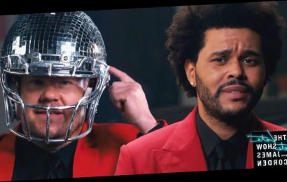 James Corden helps The Weeknd as he 'struggles' with Super Bowl half time show
