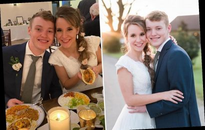 Justin Duggar, 18, and bride Claire, 20, chose make-your-own tacos for reception meal after fairytale Texas wedding