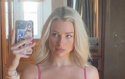 Lottie Moss parades cleavage in sheer lace lingerie in racy Beverly Hills snap