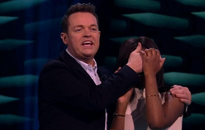 Stephen Mulhern forced to cover Game Of Talents player's eyes during painful act