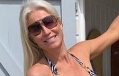 Denise van Outen parades curves in a skimpy swimsuit for birthday getaway
