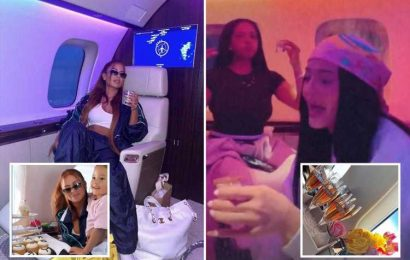 Kylie Jenner downs shots & champagne on her $72M private jet on girls getaway for BFF Yris Palmer's birthday