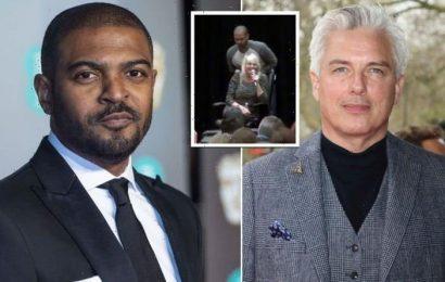 Noel Clarke uses mic to imitate John Barrowman 'exposing himself on set of Doctor Who'