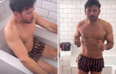 Ryan Thomas strips off for ice bath as he struggles to walk on day seven of 10-day marathon